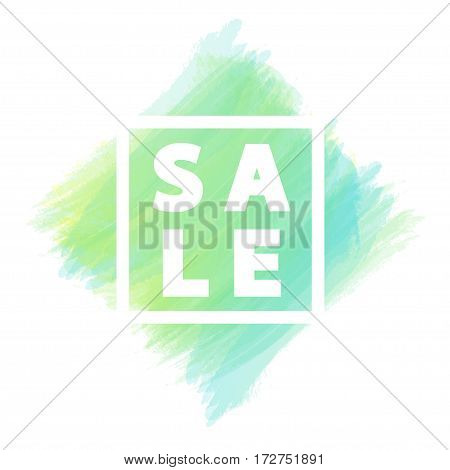 Sale banner for stocks such as black friday, promotion, special offer, advertisement, sale, hot price and discount poster with green watercolor brush strokes shapes with frame. Vector Illustration