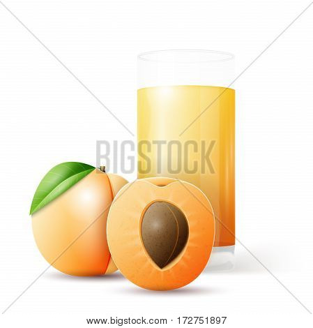 Whole and half apricot and glass of juice. Vector illustration, EPS 10