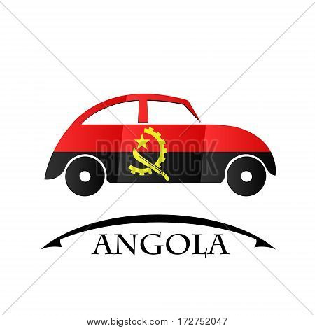 car icon made from the flag of Angola