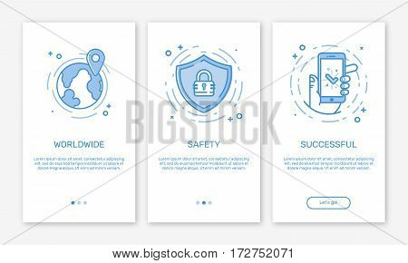 Vector Illustration of onboarding app screens and web concept online payments application for mobile apps in line style. Blue interface UX, UI GUI screen template for smart phone or web site banners.
