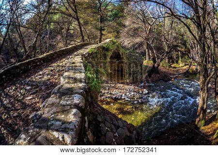 Tzelefos bridge also known as Gefiri tou Tzelefou. Paphos District Cyprus.