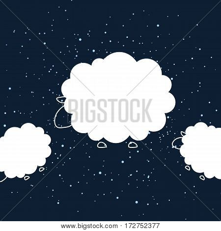 Night sheep design background. Vector flat cute template simple minimal illustration for decor greeting card T-shirt print