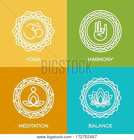 Yoga logo emblems set for your yoga center, yoga studio, hot yoga and meditation class. Healt hcare, sport, fitness logo design elements. Vector Illustration