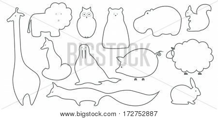 Vector outline animals design background. Cute template with fox giraffe lion owl hippo polar bear squirrel walrus pig rabbit sheep