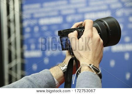 Photographer  attends the award winners press conference during the 67th Film Festival Berlin at Grand Hyatt Hotel on February 18, 2017 in Berlin, Germany.