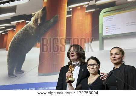Ildiko Enyedi,  Monika Mecs , Golden Bear for Best Film 'On Body and Soul' , attend the press conference during the 67th Film Festival Berlin at Hyatt Hotel on February 18, 2017 in Berlin, Germany.