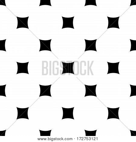Vector seamless pattern. Simple minimalist monochrome geometric texture with rounded squares & rhombuses. Abstract endless black & white background. Modern stylish design for prints, decor, textile, furniture, digital, web