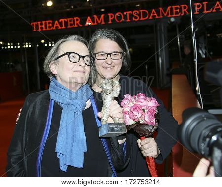 Agnieszka Holland, Kasia Adamik pose with Silver Bear Alfred Bauer Prize after the closing ceremony of the 67th Film Festival Berlin at Berlinale Palace on February 18, 2017 in Berlin, Germany.