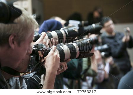 Photographer  attend the award winners press conference during the 67th Film Festival Berlin at Grand Hyatt Hotel on February 18, 2017 in Berlin, Germany.