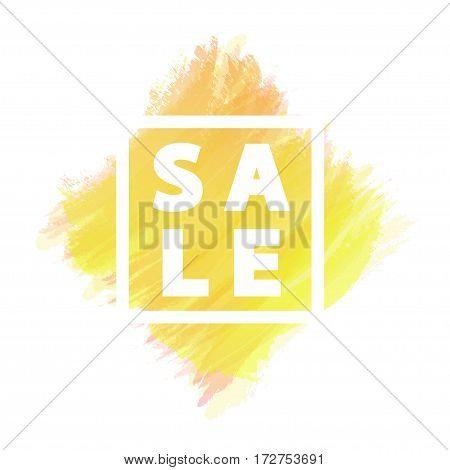 Sale banner for stocks such as black friday, promotion, special offer, advertisement, sale, hot price and discount poster with yellow watercolor brush strokes shapes with frame. Vector Illustration