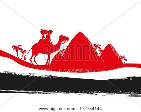 Tourists silhouette riding on camel , vector illustration