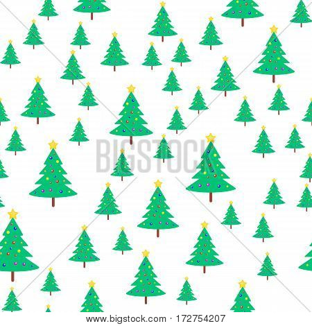 Christmas tree with colourful balls and bright yellow star on top seamless pattern. Evergreen tree on wooden stem. Xmas toy in simple cartoon design. Wallpaper design endless texture. Vector