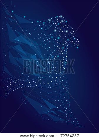 Brilliant image of points, lines and shine on a blue background, a woman running consisting of stars. vector illustration