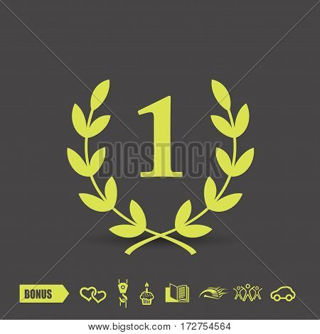 Pictograph of laurel wreath. Vector concept illustration for design. Eps 10