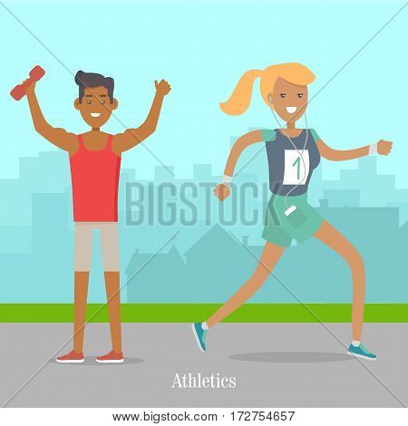 Sport banner athletics. Girl runs in earphones. Athletics sport template. Summer recreational colorful banner. Competitions, achievements. People going in for sport in the park. Vector illustration