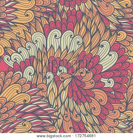 Seamless floral violet and pink bright doodle pattern