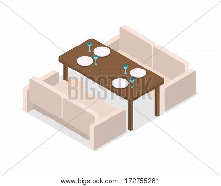 Restaurant. Simply laid table and two leather sofas without people, decorations. Before celebration. Covered platen for four people. Four white plates and glasses on wooden table. Flat design. Vector.