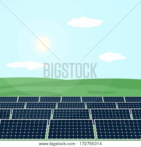Many solar panels standing in the field produce energy from sun. Vector illustration of green energy production.