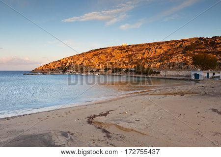 Beach and harbor on Iraklia island in Lesser Cyclades, Greece.