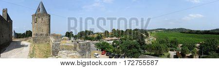 Carcassonne, France - 28 June 2012: The fort of Carcassonne on France