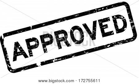 Grunge black approved square rubber seal stamp on white background