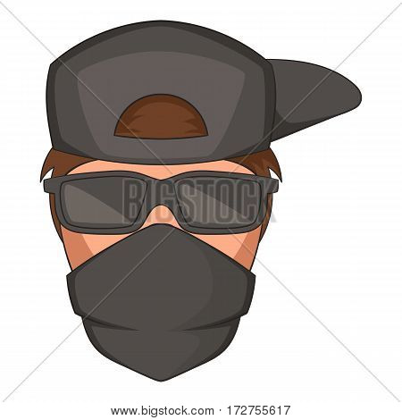 Man in black glasses and scarf on his face icon. Cartoon illustration of man in black glasses and scarf on his face vector icon for web