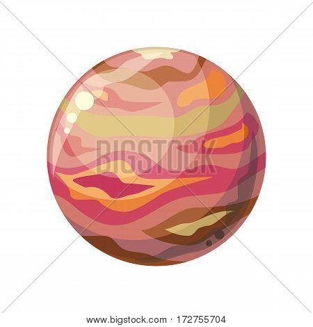Planet Jupiter icon. Element of solar system. Solar system. Isolated planet. Red round planet. Isolated object in flat design on white background. Vector illustration.