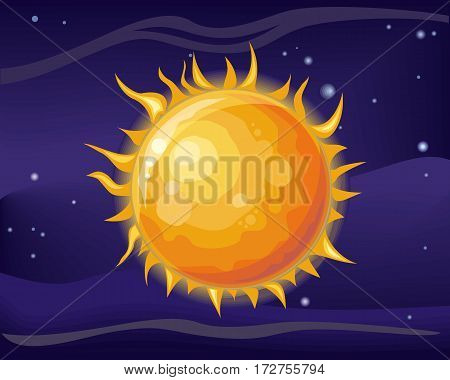 Sun in space star background. Bright and hot orange sun. Element of solar system. Cosmic galaxy background with bright shining stars. Solar system. Cool sun in space. Vector illustration.