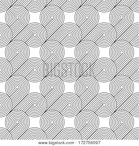 Abstract geometric black and white minimalistic background with stylized clouds or swirls