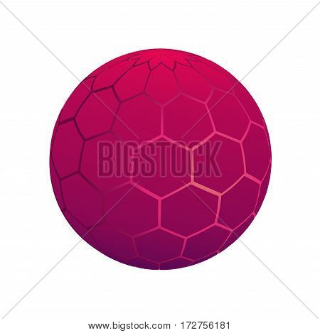 Isolated interesting ball. Core glow. 3d. Isolated circle pink