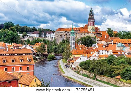 Overlooking the historic town of Cesky Krumlov. Czech Republic.