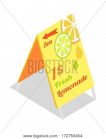 Fresh lemonade advertisement banner. Directory guide showing that lemonade beverages are in 15 metres for price 1 dollar. Vector illustration on the theme of lemonade. Street food concept. Vector