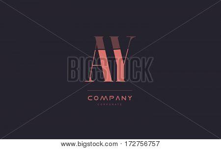 Ay A Y Pink Vintage Retro Letter Company Logo Icon Design