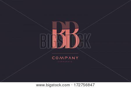 Bb B B  Pink Vintage Retro Letter Company Logo Icon Design