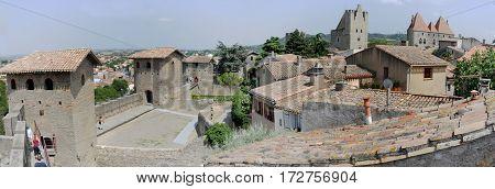 Carcassonne, France - 29 June 2012: The fort of Carcassonne on France