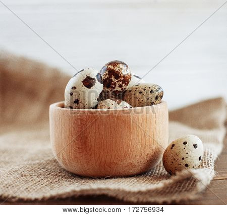 Delicious quail eggs. The concept of healthy eating and vegetarianism.