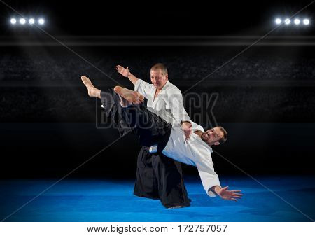 Martal arts fighters in sports hall