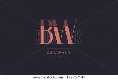 Bw B W Pink Vintage Retro Letter Company Logo Icon Design