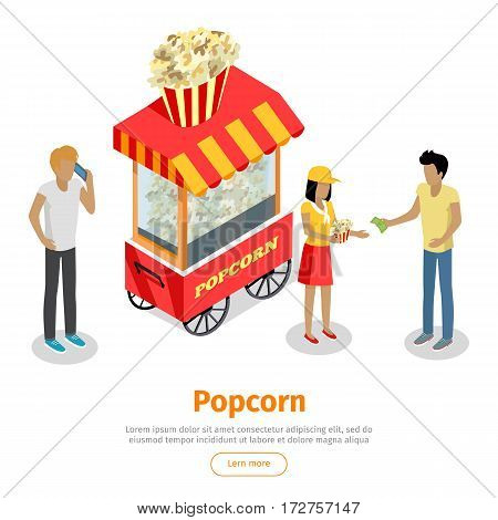 Popcorn concept web banner. Street cart store on wheels with popcorn, seller with bucket and customers with money isometric projection vector illustration on white background. For fast food cafe ad