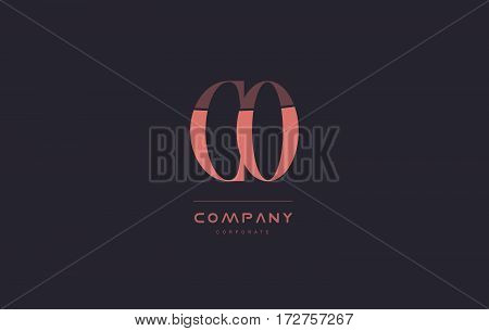 Co C O Pink Vintage Retro Letter Company Logo Icon Design