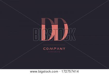 Dd D D Pink Vintage Retro Letter Company Logo Icon Design