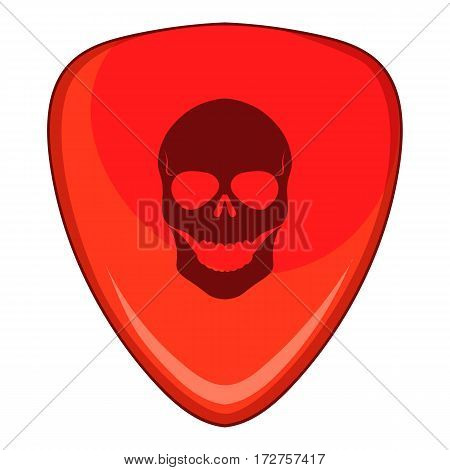 Red guitar pick with a skull icon. Cartoon illustration of red guitar pick with a skul vector icon for web