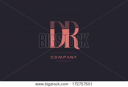 Dr D R Pink Vintage Retro Letter Company Logo Icon Design