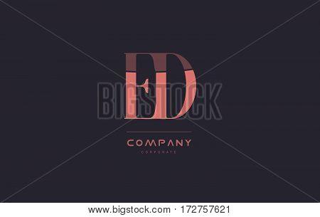 Ed E D Pink Vintage Retro Letter Company Logo Icon Design
