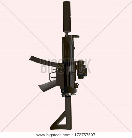 Military rifle on a white background. Vector illustration