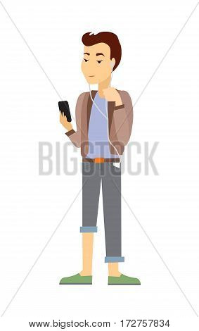 Teenager with gadgets. Young boy in casual closing with mobile phone listening music from portative player flat vector isolated on white. Communication in social media and using online services