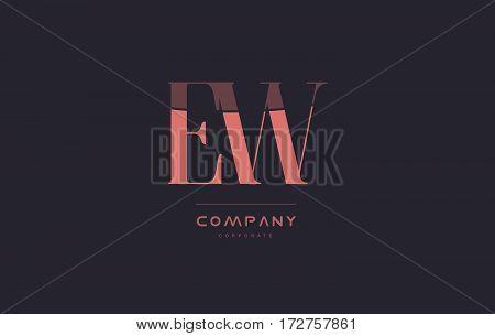 Ew E W Pink Vintage Retro Letter Company Logo Icon Design