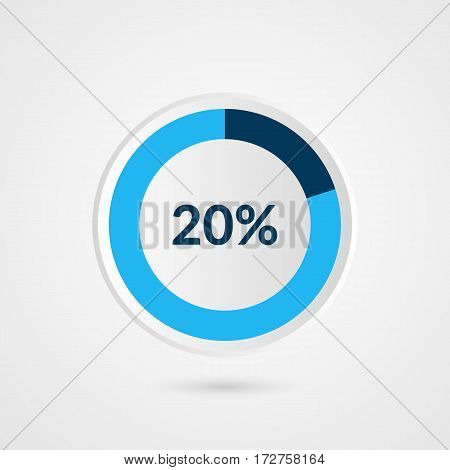 20 percent blue grey and white pie chart. Percentage vector infographics. Circle diagram business illustration