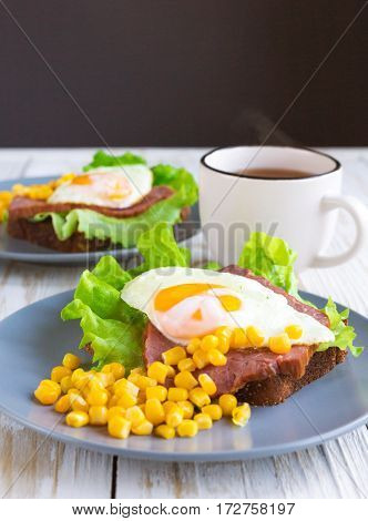 Toast With Orange Yolk Fried Egg For Breakfast