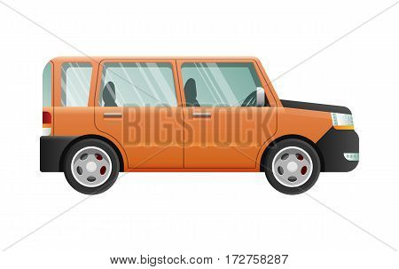 Orange jeep with clear glasses isolated on white. Speed mean of transportation. Isolated four-wheeled vehicle in simple cartoon style. Flat design. Four doors. Front and back headlights. Vector poster